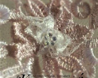Fingertip Veil Lace / Blush Wedding Veil / Fingertip Veils / Bridal Veil with Crystals / Blush Bridal Veil / Lace Fingertip Veil