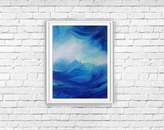 BLUE ABSTRACT ART | Original Art Wall Decor | Hand Painted Canvas Art | Affordable Artwork | Cobalt Wall Decor | Blue Painting | Blue Decor