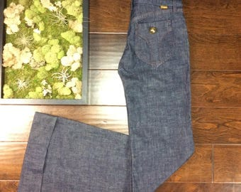 """NOS DITTO BELL Bottom Jeans High Rise Size 24 Waist 26"""" Retro, nwt, Vintage, Disco, Bells, 60's, 70's, 80's, Hippie, Boho, Chic, New, Denim"""