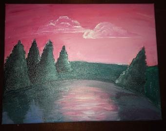 Original Acryllic Sunset Landscape Painting 11x15