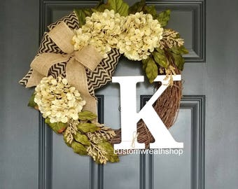 Cream Hydrangea Wreath,Hydrangea Wreath,Year Round Wreath,Front Door Wreath,Spring Wreath,Everyday Wreath,Grapevine Wreath,Farmhouse Wreath