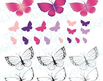Butterfly package Digital Stamp Digital Paper