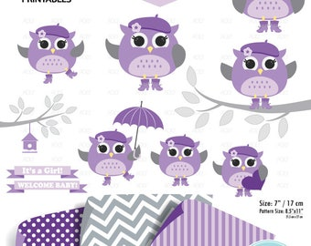 Baby Girl Owl Art, purple clipart, gender reveal party decor, nursery art, violet owl, jpeg file, instant download