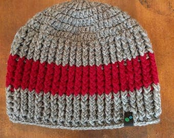 Gray and Burgundy Crochet Beanie