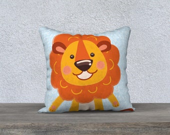 "Kids decorative pillow cover ""lion"" orange and blue pillowcase pillow gift, baby-child decor cushion lion animal nursery"