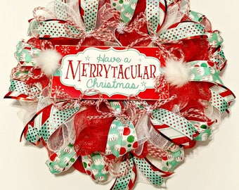 Merrytacular Christmas Wreath, Merry Christams Wreath, Christmas Door Decor, Red and Green Christmas Wreath, Peppermint Decor, Red and Green