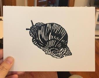 Snail - linoleum print