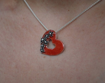 Red Heart with Oxidized Silver Hydrangeas Necklace