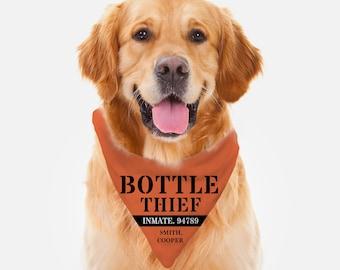 Personalized Custom Dog Bandana - BottleThief bandana,Personalized Dog Gift, Dog Accessories - Dog Items - Gift for Dog - Cute Dog Gift