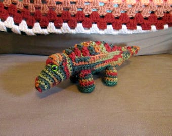 Camouflage (brown, red, green, orange) Handmade Crocheted Stuffed Alligator/Crocodile Child's Toy