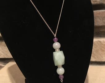 Natural Amazonite Gemstone Necklace on 16 inch .925 Sterling Silver Chain