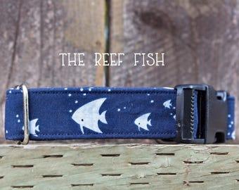 The Reef Fish dog collar, fish dog collar, bubble dog collar, ocean dog collar, sea dog collar, marine life dog collar, fish lover, navy