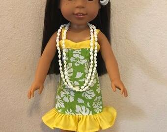 Wellie Wisher Hawaiian Sweetheart Dress - Green