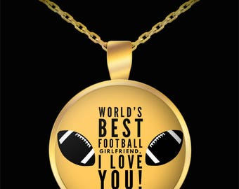 WORLD'S BEST Football Girlfriend! Gold Plated Necklace