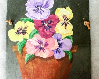 """Pot of Springtime Pansies Hand Painted on a 12""""x8""""Slate Shingle, One of a KInd Wall Art,Garden Art,Perfect for an Entryway,Wonderful Gift !!"""