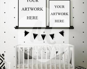 2 Panel Nursery frame mockup, baby room frames mockup, portrait frames mock-up, white frames, Scandinavian interior, 2 frames mock-up
