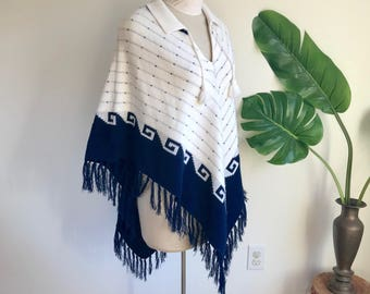 Vintage White and Navy Blue Poncho with Greek Key