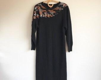 Vintage Angora Black 1980's Sequin Dress Size Medium