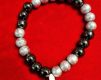 Silver and gray/black bracelet