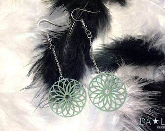 "Earrings ""Rosace"", green-grey color"