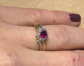 9ct Ruby with Diamond