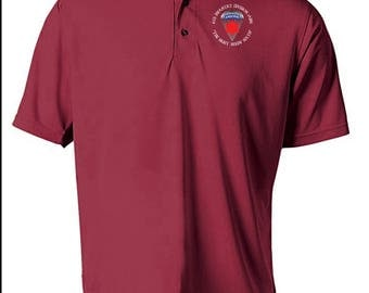6th Infantry Division (Airborne) Embroidered Moisture Wick Polo Shirt -7548