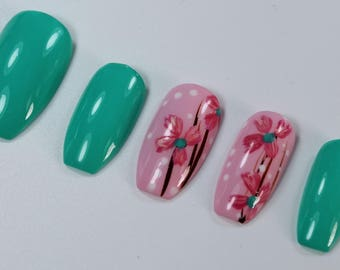 10 Pink Flower Nails, Press On Nails, Glue on Nails, Full Coverage Nails