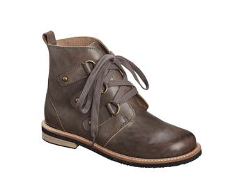 Grey Leather Tie Shoes / Oxford Shoes / Women Boots / Lacing Shoes / Dress Shoes / Casual Shoes / Flat Ankle Boots / Antelope Shoes - 264
