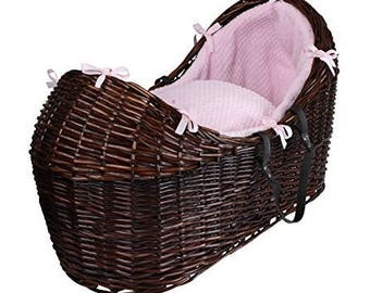 Baby carriage, baby basket, cot bed, baby buggy made from wicker with moses basket mattress and cot bedding set blue and pink