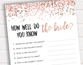 Do You Know The Bride To Be Rose Gold Bridal Shower How Well