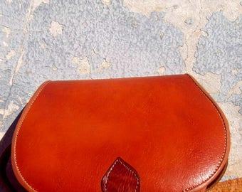 Burnt Orange Handmade Leather Messenger Shoulder Satchel Bag