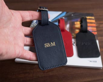 Leather luggage tags Custom luggage tag Personalized luggage tag Monogram luggage tag Bridesmaid gift Mr and Mrs Luggage Tag.