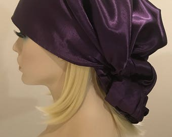 Shiny satin plum neck scarf and head wrap, multipurpose use, purple scarf, women's scarves, scarves, wraps