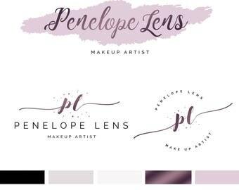 Branding Kit Template, Makeup Logo Design, Makeup Artist Logo, Makeup Branding Kit, Rose Gold Logo, Premade Logo, INSTANT DOWNLOAD, DIY Logo