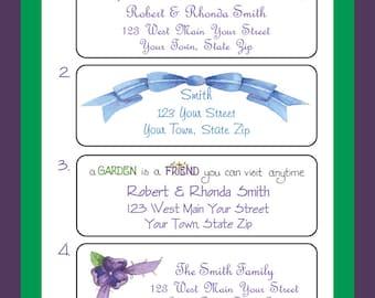 Personalized SPRING FLORAL Address LABELS Spring Flowers Return Address Labels, Sets of 30