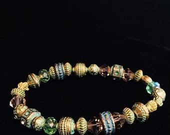 Antiqued Gold and Verdigris Beaded Bracelet with Topaz Crystal