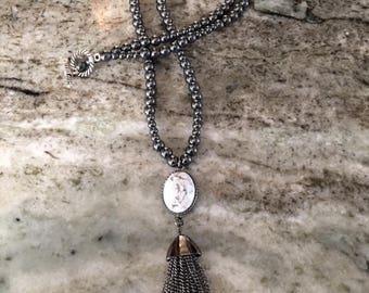 Hematite Beaded Necklace with Gemstone Drop