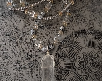 Long Silver Necklace with Large Rock Crystal Pendant