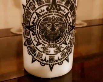 Aztec calendar pillar candle