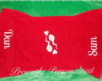 Mature Personalised Embroidered Couples After Sex Towel. Cum Cloth. Valentine or Birthday gift for men and women. Customised Wank Towel