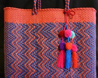 Shoulder bag, hand bag, tote, hand woven bag, Mexican bag, beach bag, market bag, mercado bag