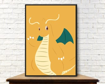 Dragonite Digital Poster Dragonite Digital Print Dragonite Poster Dragonite Print Dragonite Wall Art Dragonite Art