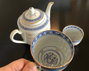 Chinese Rice Grain Porcelain Tea Pot and 2 Tea Cups - Chinoiserie Blue White and Red with Dragon Motif