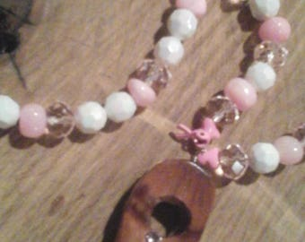 Breast Cancer Awareness Beaded Pendant Necklace