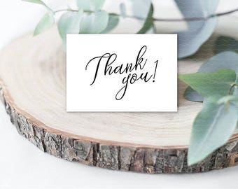 Elegant thank you card printable Calligraphy wedding thank you tag Classic thank you note Black and white thank you card template - DIGITAL