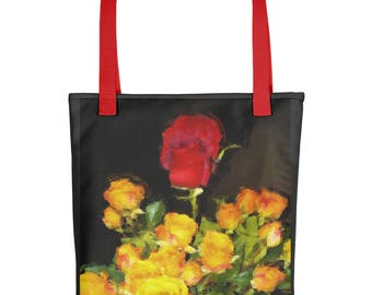 "Tote Bag: Romantic floral still life ""Red Among Yellow Roses"" by Malinee Ganahl. Bright Floral Arrangement on Dark Background."