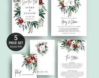 INSTANT DOWNLOAD Wedding Invitation Printable Template Set - Monogram Red Flowers Greenery Bohemian