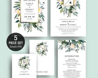 INSTANT DOWNLOAD Protea Greenery Wedding Invitation Printable Template Set