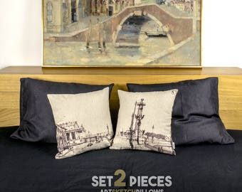 "Art Pillows with sketch of Saint Petersburg, SET 2 pillows detailed printed, 16x16"", Original interior decoration - Limited Edition of 100"