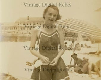Pre 1940 Snapshot of a Young Woman in a Flare Bottom One Piece Bathing Suit at the Beach - Digital Download